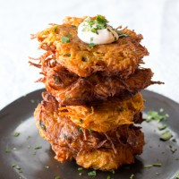 southwestern sweet potato latkes with chipotle sour cream