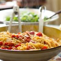 pasta with pancetta, tomatoes and mint