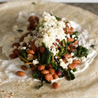 swiss chard, pinto and bacon burritos